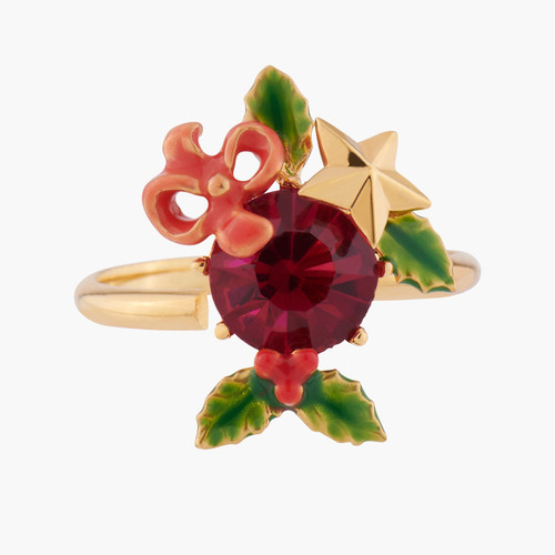 Red Stone And Christmas Holly Adjustable Rings | AKNO602