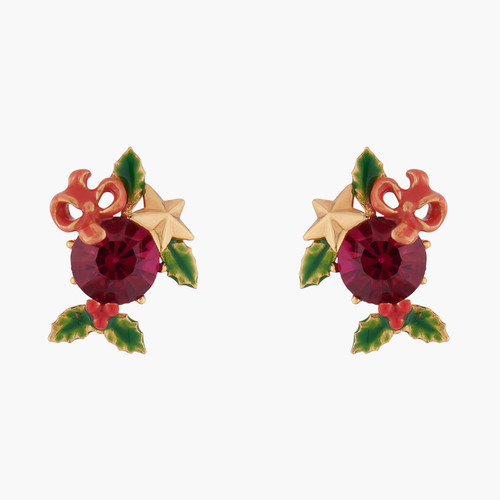 Red Stone And Christmas Holly Earrings | AKNO103