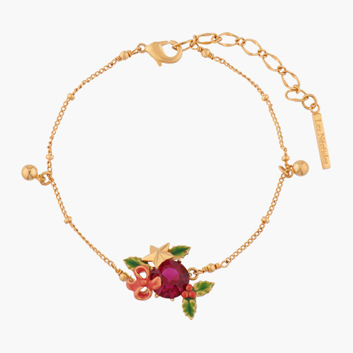 Red Stone and Christmas Holly Pendant Bracelet | AKNO202