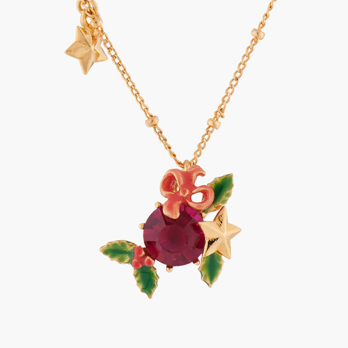 Red Stone And Christmas Holly Pendant Necklace | AKNO302
