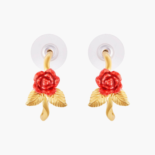 Rose Bud And Golden Leaves Creoles Earrings | AMAR1051