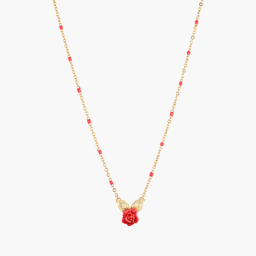 Rose Bud And Golden Leaves Pendant Necklace   AMAR3061
