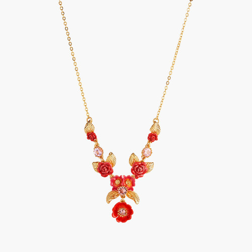 Rose Bouquet And Golden Leaves Collar Necklace   AMAR3021