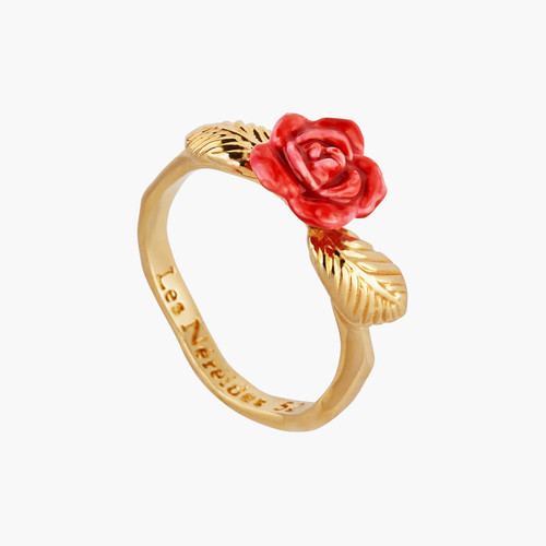 Rose Bud And Golden Leaves Cocktail Rings | AMAR601/1