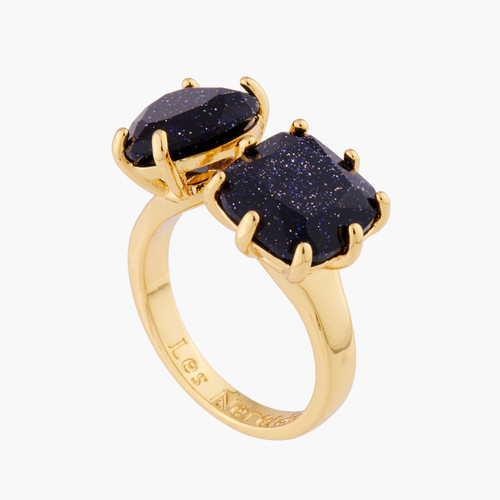Deep Sparkling Blue Heart And Square Stones La Diamantine Adjustable You And I Rings | AMLD6181