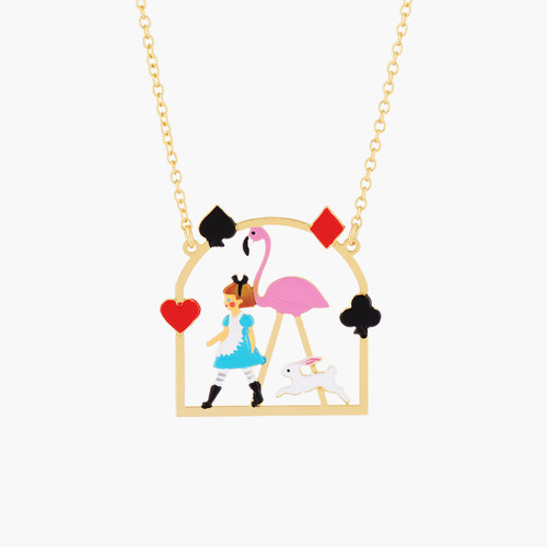 Alice And Pink Flamingo Pendant Necklace | AMAL3051