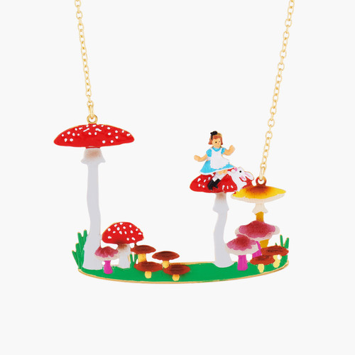 Alice, White Rabbit And Mushrooms Collar Necklace | AMAL3071
