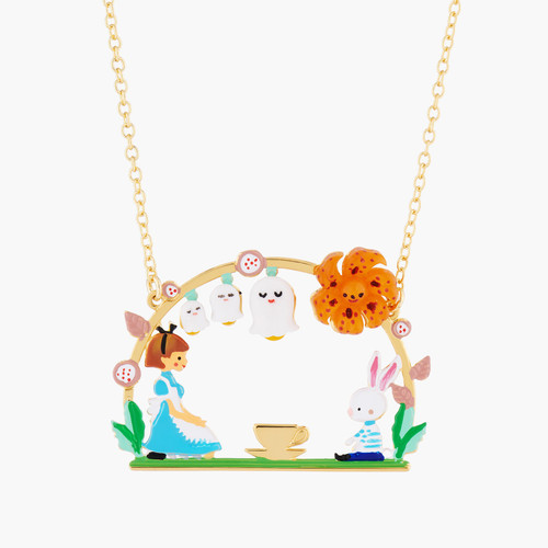 Alice And White Rabbit Tea Time Pendant Necklace | AMAL3031