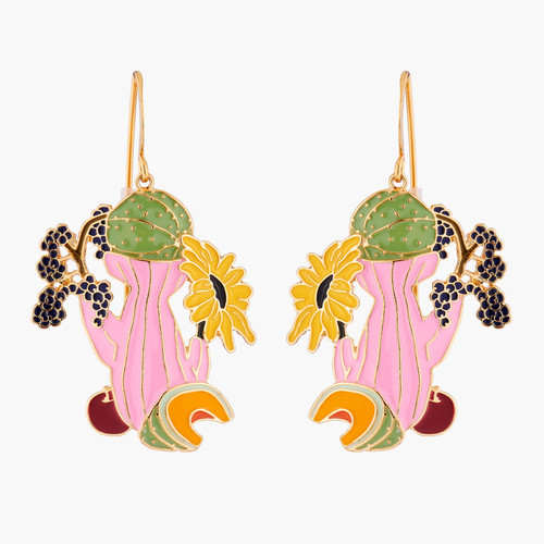 Melon And Sunflower Earrings   AMBE1031