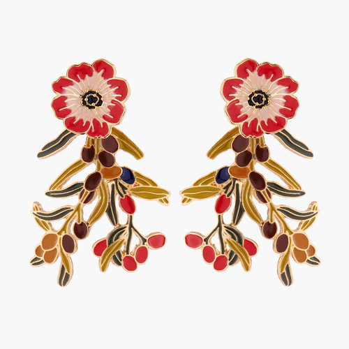 Chocolate Cosmos And Wild Berries Convertible Earrings   AMBE1051