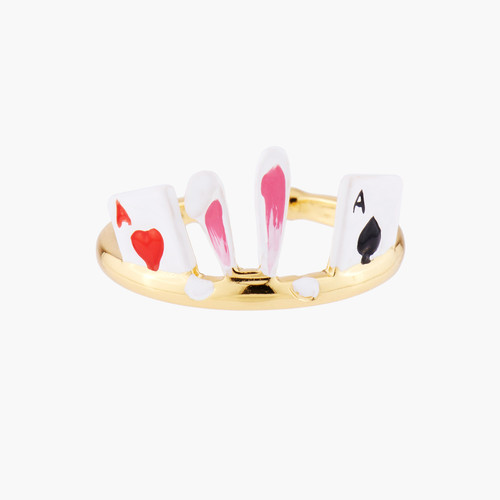 White Rabbit And Aces Of Spades And Hearts Adjustable Rings | AMAL6021