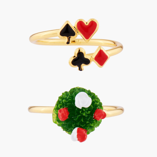 Red Roses And Aces Set Of 2 Adjustable Rings | AMAL6031