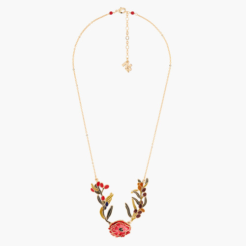Chocolate Cosmos And Wild Berries Collar Necklace | AMBE3031