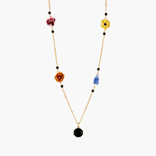 Winter Blooming Bouquet On A Black Stone Long Necklace | AMBH3031