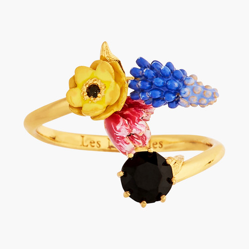 Winter Blooming Bouquet On A Black Stone Adjustable Rings   AMBH6021