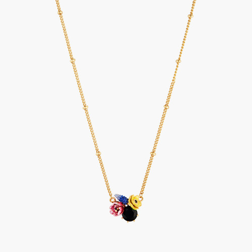 Winter Blooming Bouquet On A Black Stone Pendant Necklace | AMBH3051