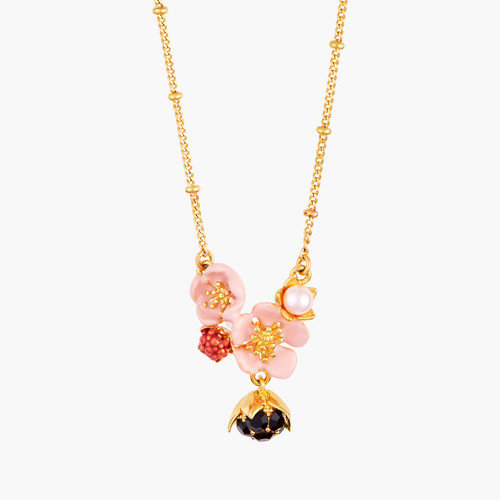 Pink Flower, Dewdrop And Raspberry Pendant Necklace | AMCM3051