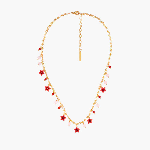 Raspberry And Miraculous Flowers Thin Necklace   AMCM3031