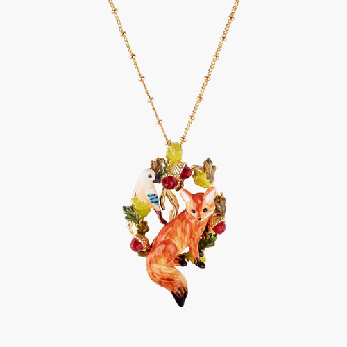 Fox Cub And Jay Pendant Necklace   AMEF3031