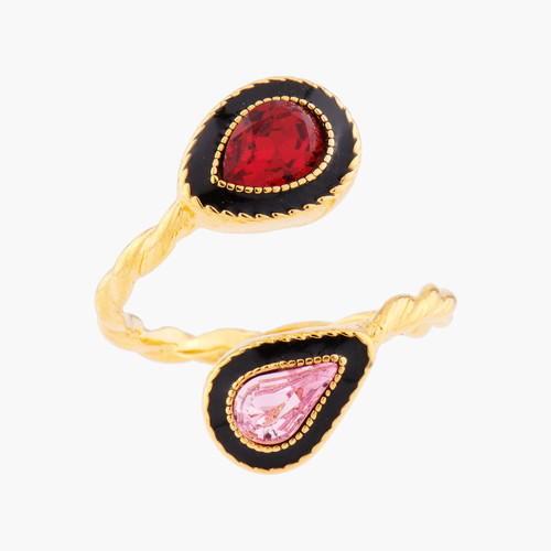 Indian Summer Teardrop And Pear Crystals Adjustable You And I Rings | AMEI6031
