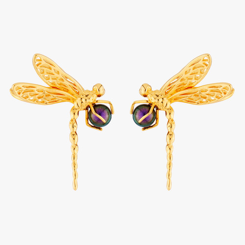 Dragonfly And Iridescent Pearl Earrings | AMEN1021