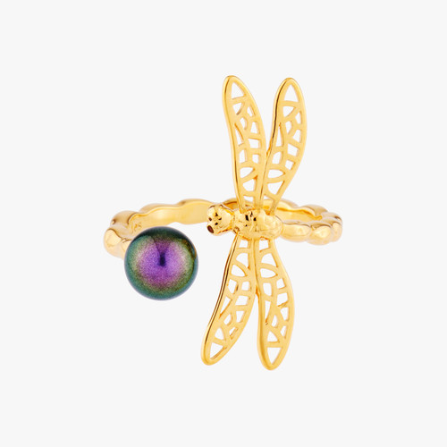 Small Dragonfly And Iridescent Pearl Adjustable Rings | AMEN6011