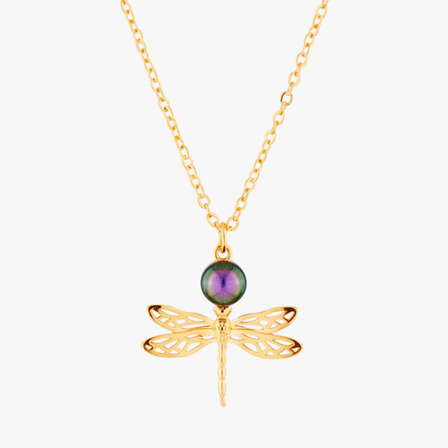Small Dragonfly And Iridescent Pearl Pendant Necklace | AMEN3041