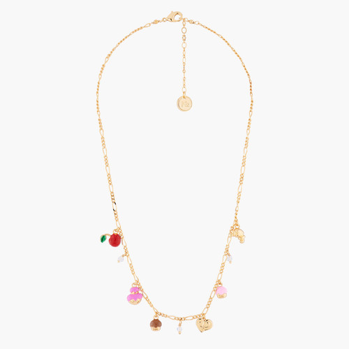 Cream Puff, Palmier, Puff Pastry, Croissant And Cherry Thin Necklace | AMFP3051