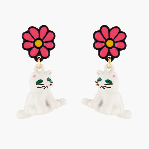 White Cat And Daisy Earrings | AMNA1011
