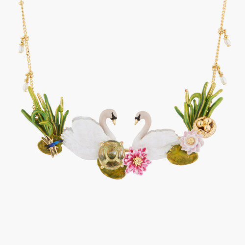 Two Swans In Love Among Water Lilies Collar Necklace | AKCY301