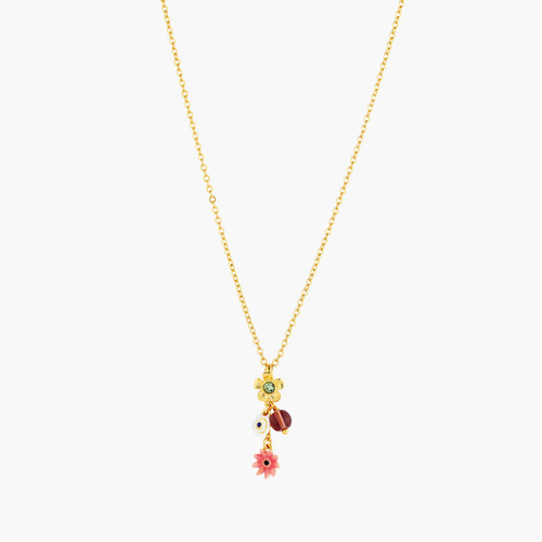 Poppy Flowers And Small Acorn Pendant Necklace | AOPJ3041