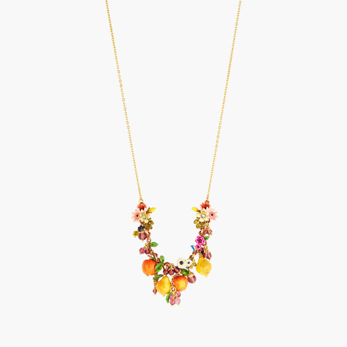 Romantic Flowers And Orchard Fruits Statement Necklace | AOPJ3011