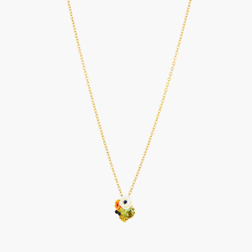 Poppy Flowers And Faceted Glass Stone Pendant Necklace | AOPJ3051