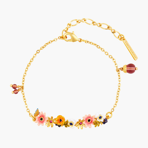 Romantic Flowers And Dangling Glass Beads Thin Bracelet | AOPJ2021