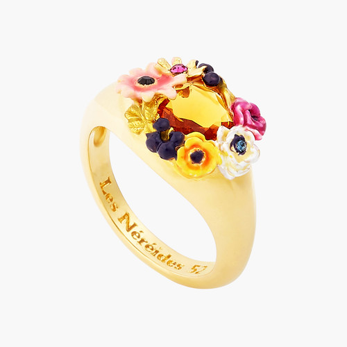 Poppy Flower And Faceted Glass Stone Cocktail Ring | AOPJ601/1