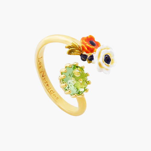 Poppy Flowers And Faceted Glass Stone You And Me Ring | AOPJ6061