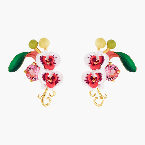 Butterfly Orchid And Pink Stone Earrings   AOOC101/1
