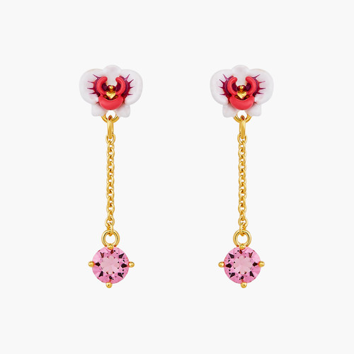 Butterfly Orchid And Faceted Pink Stone Dangling Earrings   AOOC103/1
