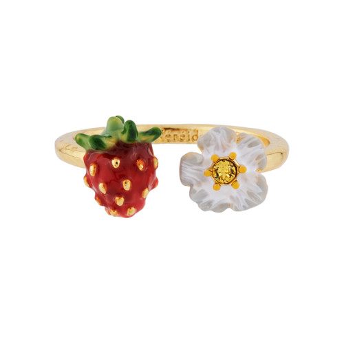 Small Strawberry And White Flower Adjustable  Rings | AHPO6031