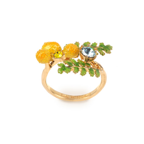 Ferns And Mimosa Flower Adjustable  Rings | ABJP6021