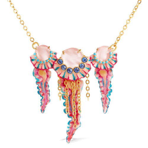 Trio of blue and pink Jellyfish pendant necklace | AOGL3061