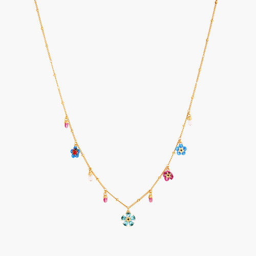 Forget-Me-Not And Ladybird Faceted Crystal Thin Necklace | ANBM3021