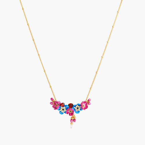 Forget-Me-Not Rosebuds And Ladybird Statement Necklace | ANBM3011