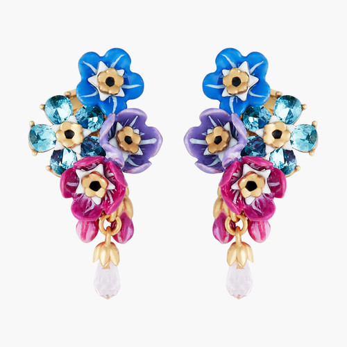 Forget-Me-Not Cluster And Rosebuds Earrings | ANBM1011