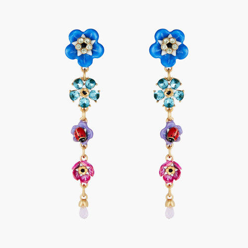 Forget-Me-Nots And Rosebuds Dangling Earrings | ANBM1021