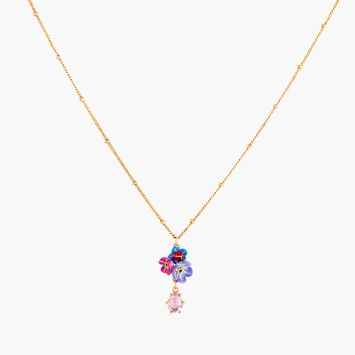 Faceted Crystal Flower And Ladybird Pendant Necklace | ANBM3031