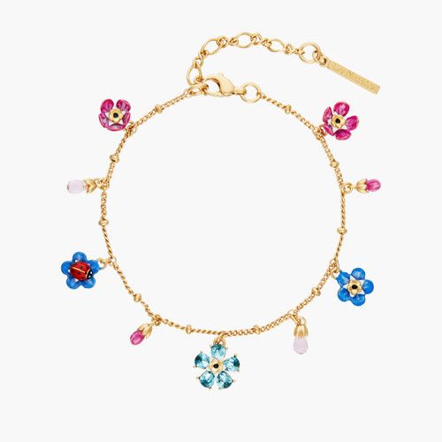 Forget-Me-Not And Ladybird Faceted Crystal Flower Charm Bracelet | ANBM2021