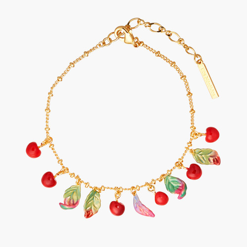Cherries And Leaves Charm Bracelet | ANCE2031