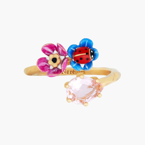 Faceted Crystal, Flower And Ladybird You And Me Rings | ANBM6021