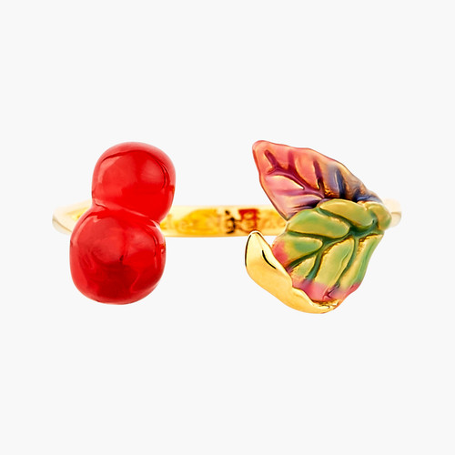 Cherries And Leaves Adjustable Rings | ANCE6011